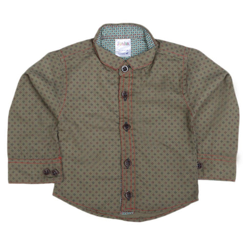 Newborn Full Sleeves Casual Shirt - Olive Green