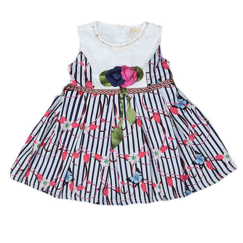 Newborn Girls Frock - Navy Blue