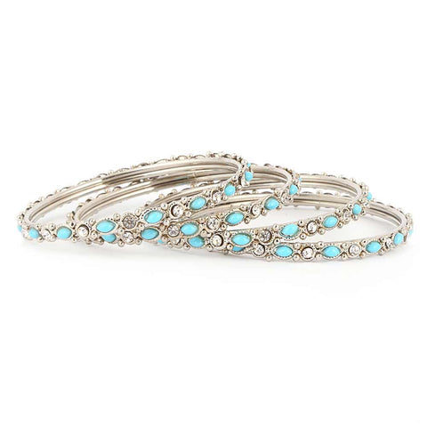 Girl's Fancy Bangles 4 Pcs - Silver - Blue - test-store-for-chase-value