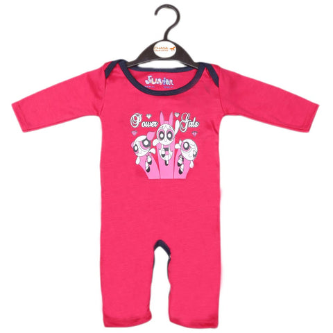 Newborn Girls Full Sleeves Romper - Dark Pink