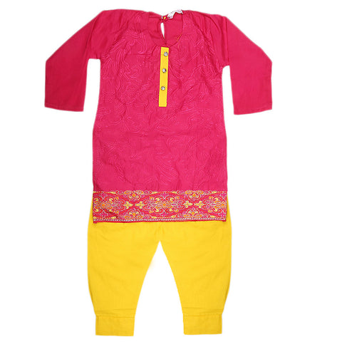 Girls Embroidered 2 Piece Suit - Pink