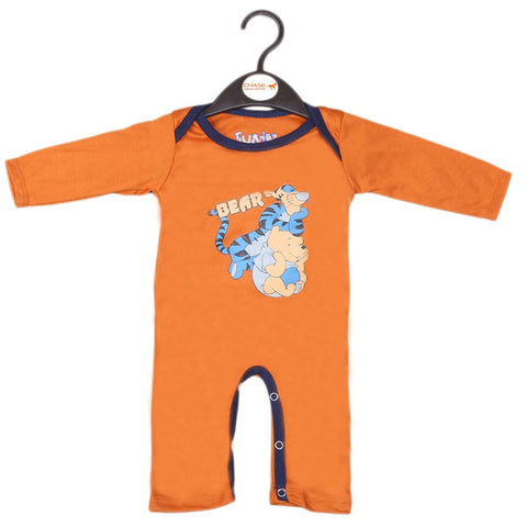 Newborn Boys Full Sleeves Romper - Brown
