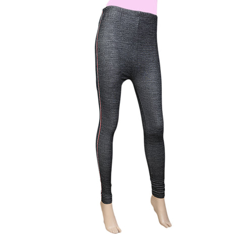 Women's Side Lace Denim Tight- Black