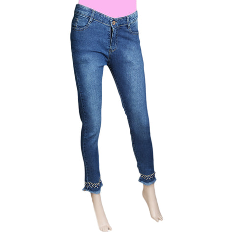 Women's Denim Pant With Emb - Mid-Blue