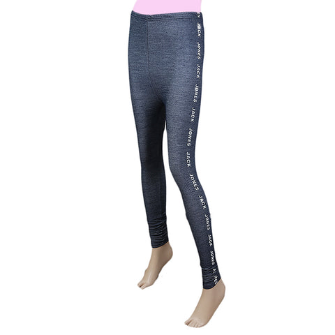 Women's Side Print  Denim Tight - Blue