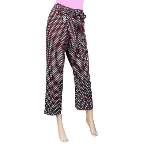 Women's Printed Trouser - Coffee