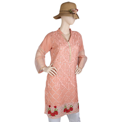 Women's Fancy Embroidered Kurti - Peach