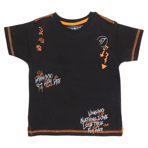 Boys Half Sleeves T-Shirt - Black - test-store-for-chase-value