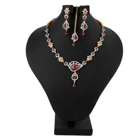 Women's Fancy Jewellery Set - Golden Maroon