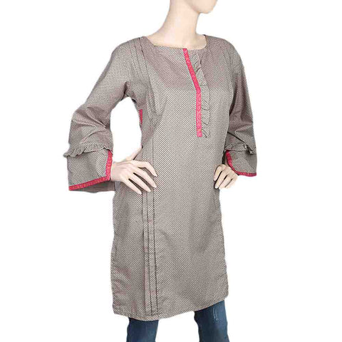Women's Cotton Plain Kurti - Beige