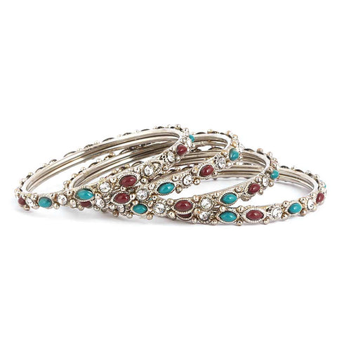 Girl's Fancy Bangles 4 Pcs - Silver - Multi - test-store-for-chase-value