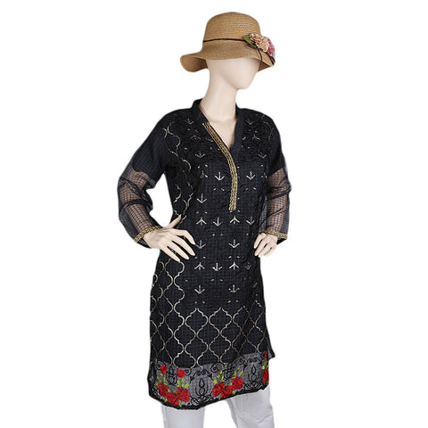 Women's Fancy Embroidered Kurti - Black
