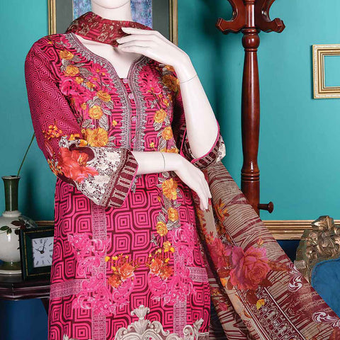 Abelia Embroidered Lawn 3 Piece Un-Stitched Suit - Chloris B5
