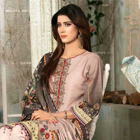 Evince Digital Embroidered Khaddar 3 Piece Semi-Stitched Suit - 8538