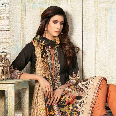 Evince Digital Embroidered Khaddar 3 Piece Semi-Stitched Suit - 8539