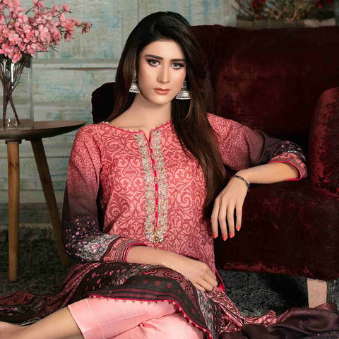 Evince Digital Embroidered Khaddar 3 Piece Semi-Stitched Suit - 8541