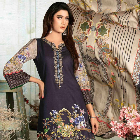 Evince Digital Embroidered Khaddar 3 Piece Semi-Stitched Suit - 8542