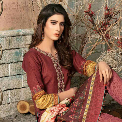 Evince Digital Embroidered Khaddar 3 Piece Semi-Stitched Suit - 8543
