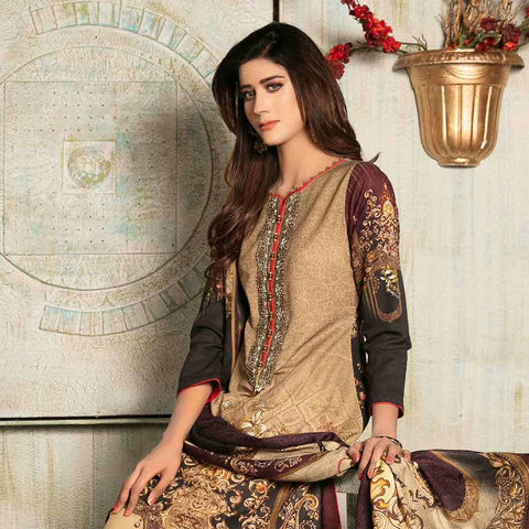 Evince Digital Embroidered Khaddar 3 Piece Semi-Stitched Suit - 8544
