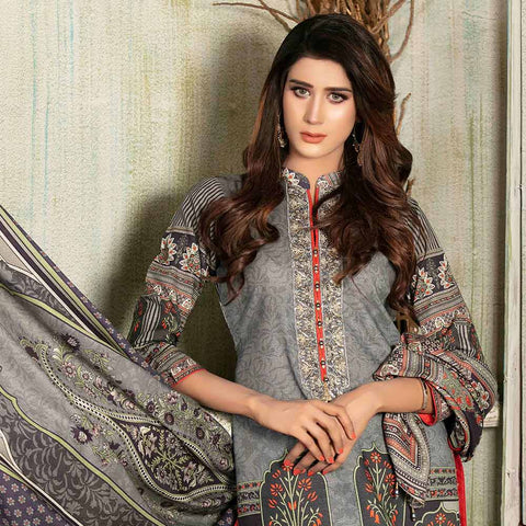 Evince Digital Embroidered Khaddar 3 Piece Semi-Stitched Suit - 8545