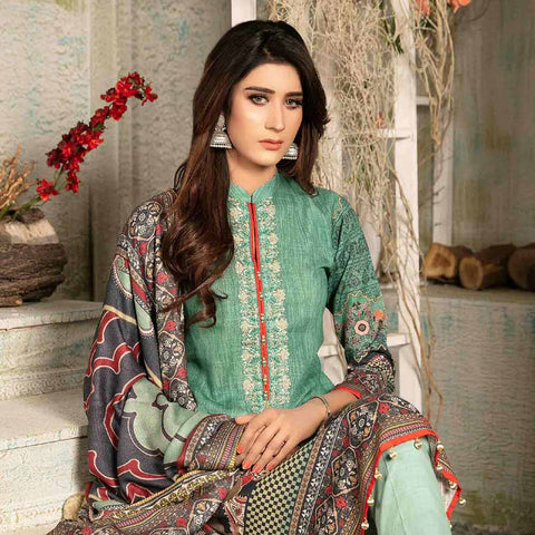 Evince Digital Embroidered Khaddar 3 Piece Semi-Stitched Suit - 8546