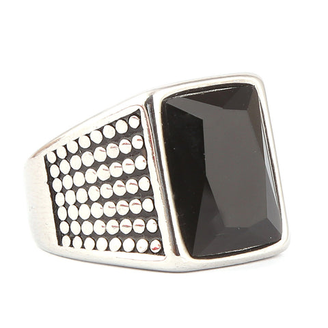 Men's Fancy Stone Ring - Black - test-store-for-chase-value