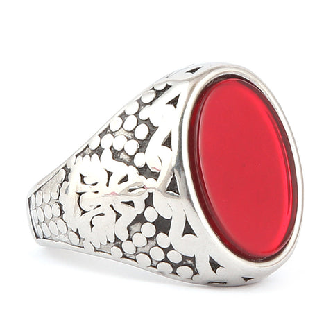 Men's Fancy Stone Ring - Red - test-store-for-chase-value