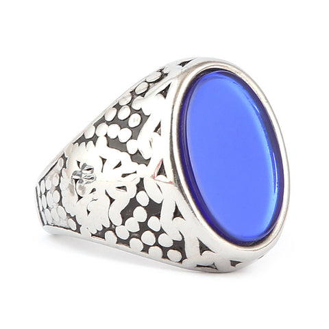 Men's Fancy Stone Ring - Blue - test-store-for-chase-value