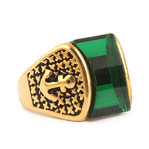 Men's Fancy Stone Ring - Green - test-store-for-chase-value