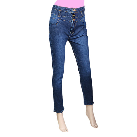 Women's Denim High Waist pant -Dark Blue