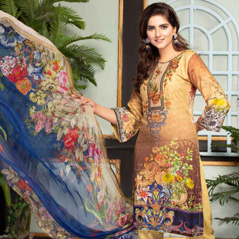 Ethereal Viscose Jacquard Embroidered 3 Piece Un-Stitched Suit - DA-306