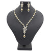 Women's American Diamond Necklace Set - Golden & Silver