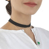 Women's Black Choker Necklaces - Green