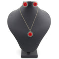 Women's Flower Locket Set - Red