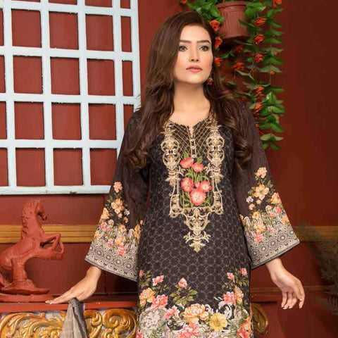 Ethereal Viscose Jacquard Embroidered 3 Piece Un-Stitched Suit - EKR-308