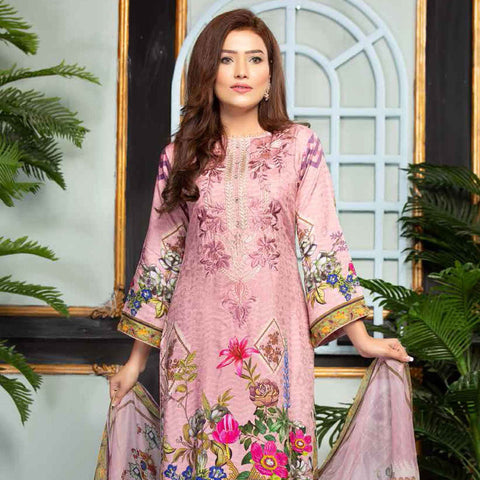 Ethereal Viscose Jacquard Embroidered 3 Piece Un-Stitched Suit - EKR-309