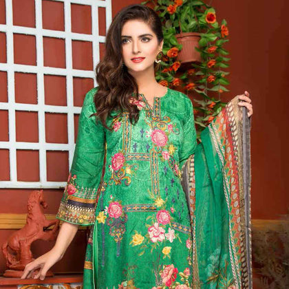 Ethereal Viscose Jacquard Embroidered 3 Piece Un-Stitched Suit - EKR-312