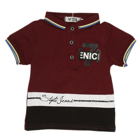 Boys Half Sleeves Polo T-Shirt - Maroon