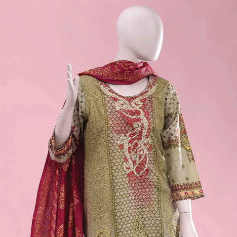 Ethnic Embroidered Cambric 3 Pieces Un-Stitched Suit - ET-01