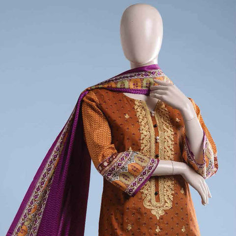 Ethnic Embroidered Cambric 3 Pieces Un-Stitched Suit - ET-02A