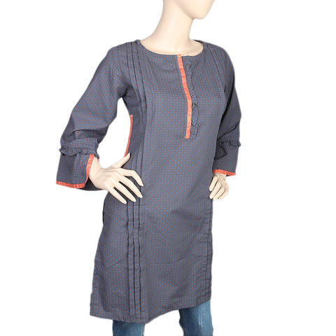 Women's Cotton Plain Kurti - Dark Grey