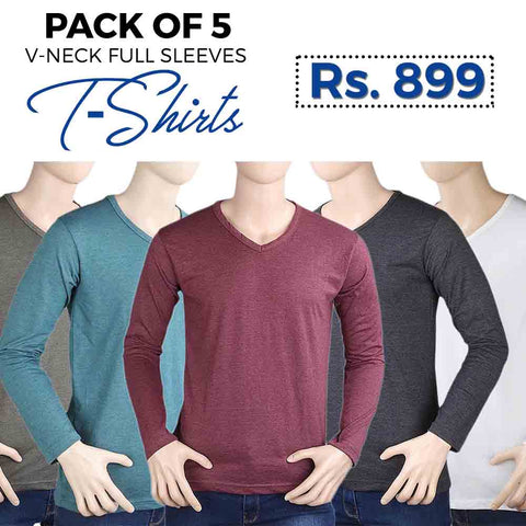 Men's Pack Of 5 V-Neck T-Shirts - Multi - test-store-for-chase-value