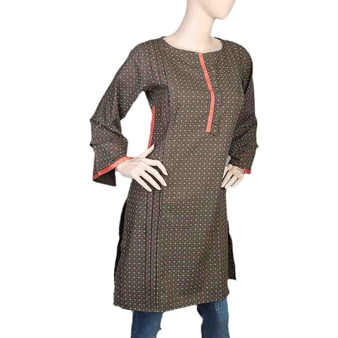 Women's Cotton Plain Kurti - Olive Green