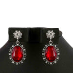 Women's Fancy Earrings - Silver Red
