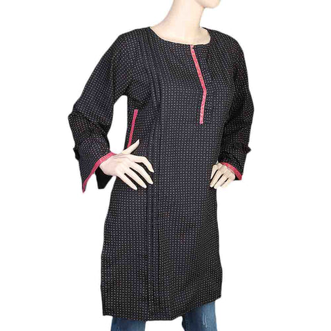 Women's Cotton Plain Kurti - Black