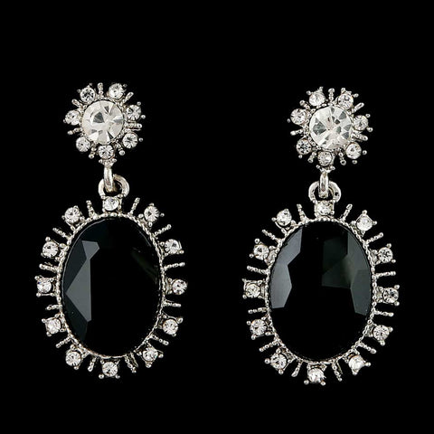 Women's Fancy Earrings - Silver Black