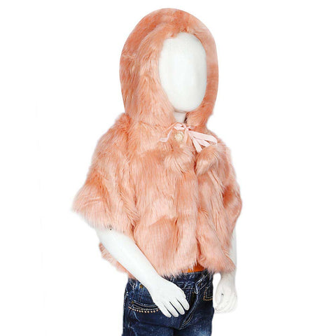 Girls Fur Hooded Upper - Peach