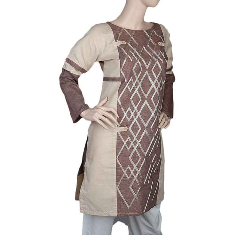 Women's Embroidered Kurti - Brown