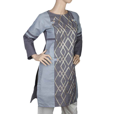 Ladies Embroidered Kurti - Grey