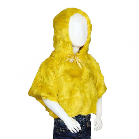 Girls Fur Hooded Upper - Yellow